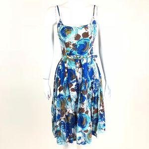 Trina Turk Blue Floral Classic Sun Dress